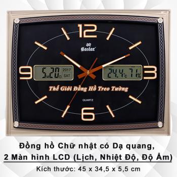 Đồng hồ Treo tường có 2 Màn hình LCD hiển thị Lịch Vạn Niên, Nhiệt độ và Độ ẩm - Mã số: 572B
