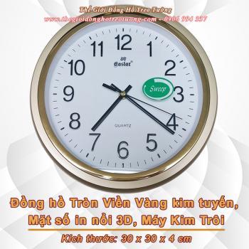 Đồng hồ Tròn Viền vàng Kim tuyến, Mặt số in Nổi 3D, Máy Kim trôi – Mã số: 825A