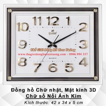 Đồng hồ Chữ nhật – Mặt kính 3D – Bộ số Nổi Ánh kim - MàuTrắng - Mã số: 840A