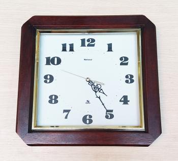 Đồng hồ NATIONAL Vỏ Gỗ Đặc, Viền Vàng Kim tuyến – Máy MATSUSHITA JAPAN có nút tắt mở - Mã số: National GV