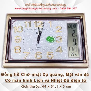 Đồng hồ Chữ nhật Mặt vân đá, có Dạ Quang & Màn hình Điện tử Lịch, Nhiệt Độ - Mã số: 5102
