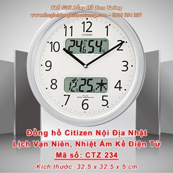 Đồng hồ CITIZEN Nội địa Nhật Viền Bạc có 2 Màn hình LCD hiển thị Lịch, Nhiệt độ, Độ ẩm