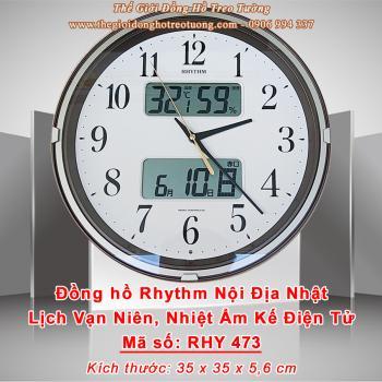 Đồng hồ RHYTHM Nội địa Nhật Viền Bạc có 2 Màn hình LCD hiển thị Lịch, Nhiệt độ, Độ ẩm
