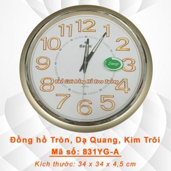 Đồng hồ Tròn có Dạ quang, Máy kim trôi (Mặt Trắng) - Mã số: 831A