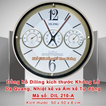 Đồng hồ Tròn Đường kính Khổng Lồ có Dạ quang và Nhiệt Ẩm Kế Tự Động Không dùng Pin