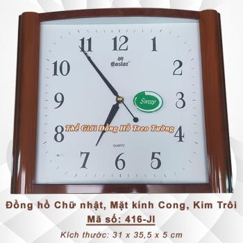 Đồng hồ Chữ Nhật Màu Gỗ - Mặt kính cong - Máy kim trôi - Mã số: 416JI