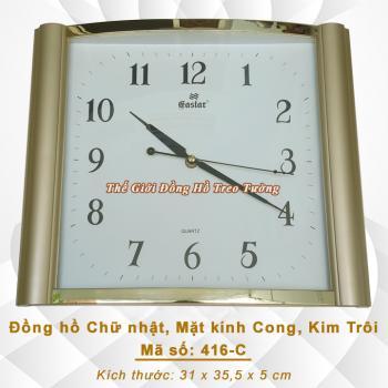 Đồng hồ Chữ Nhật - Mặt kính cong – Máy kim trôi – Mã số: 416C