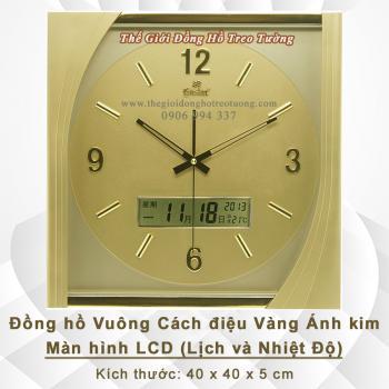 Đồng hồ hình Vuông Cách điệu có Màn hình Lịch điện tử và Nhiệt độ - Mã số: 525C