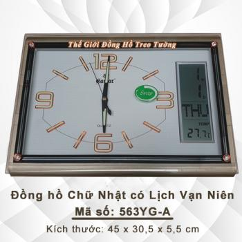 Đồng hồ Chữ nhật Dạ Quang & Màn hình Điện tử Lịch, Nhiệt Độ - Mã số: 563A