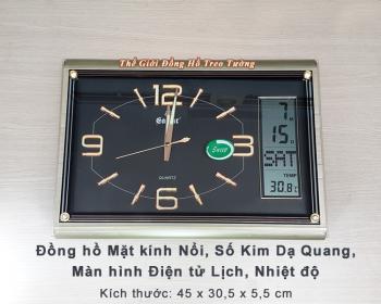 Đồng hồ Chữ nhật Dạ Quang & Màn hình Điện tử Lịch, Nhiệt Độ - Mã số: 563B